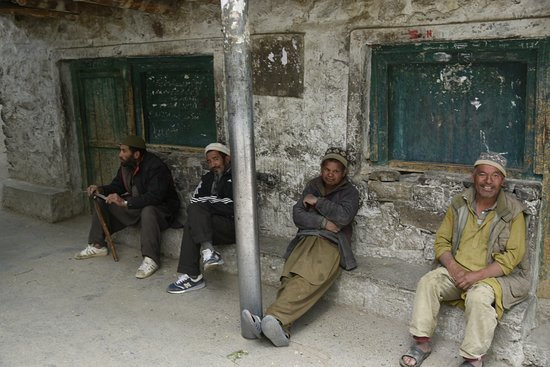 Turtuk, India: Elderly villagers gather in the evening after a hectic day to discuss issues