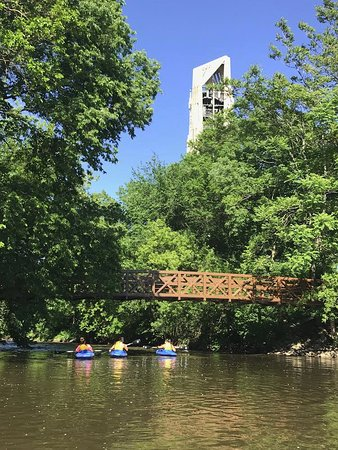 Kayaking in downtown Naperville by the Carillon