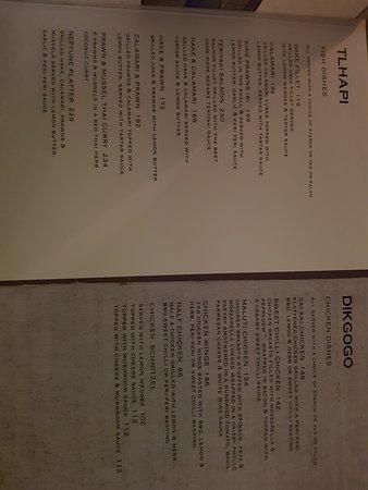 Baobab Cafe: Menu