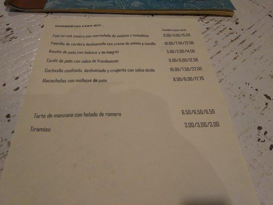 El Montanes: Carta