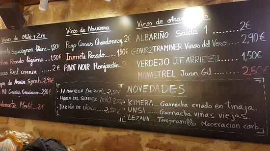 Restaurante Merindad de Olite : Vinos por copa