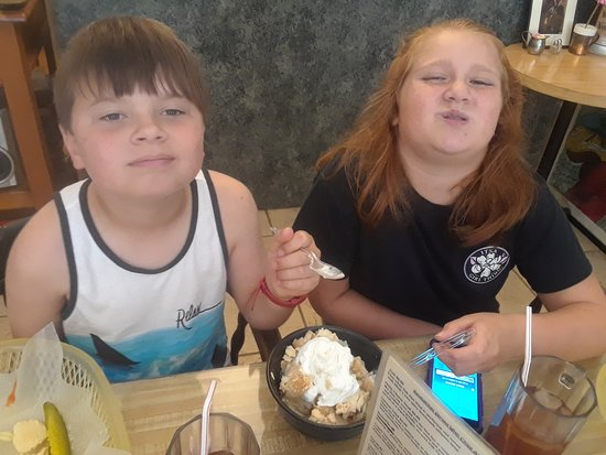 Mick's Dauphin St. Cafe: That face you make when you have to share your dessert!