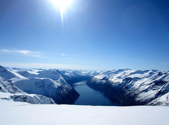 Eidsdal, Norway:  Synnulvsfjorden sett i fra Vindshornet