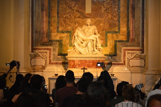 La Pieta: And there is always a crowd, hindering you from getting closer to the sculpture