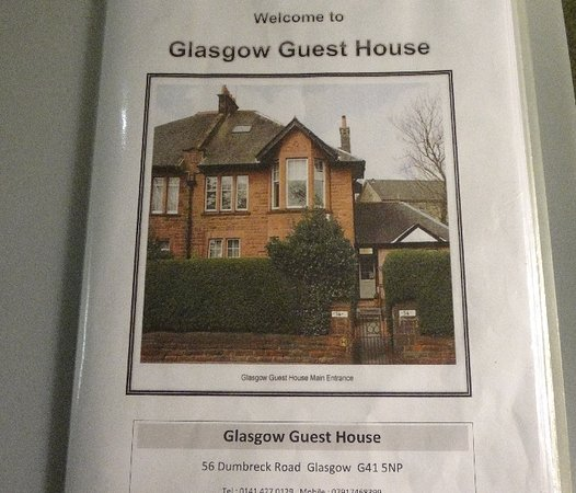 Glasgow Guest House: Welcome pack