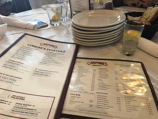 Carmine's Italian Restaurant - Times Square: Menu