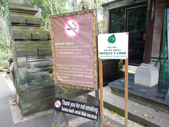 Sacred Monkey Forest Sanctuary: A sign just outside one of the entrances to the Forest