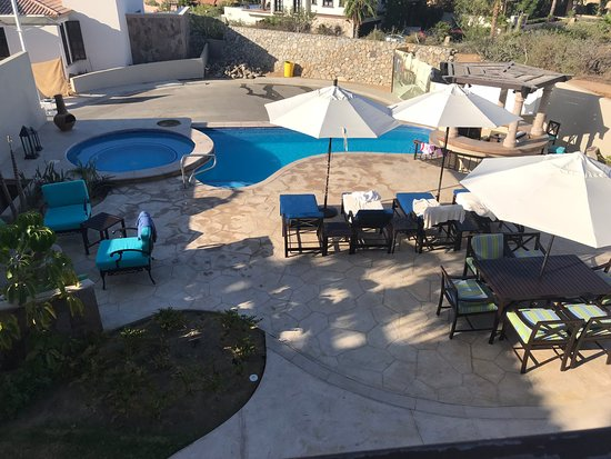 The Residences at Hacienda Encantada: The Residences - view of pool, fire pit and patio from main floor terrace balcony