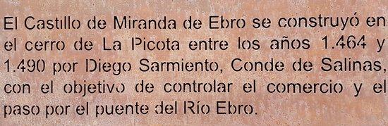 Castillo de Miranda de Ebro: PLACA CONMEMORATIVA