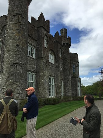 Dublin Falconry: Trevor, John, Phil and hawk on castle wall