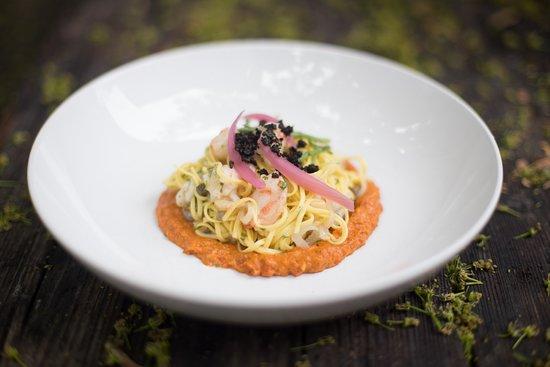 Detente Restaurant and Wine Bar: A seafood pasta over romesco.