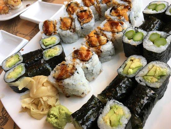 Little Tokyo: Assortment of veggie rolls featuring the sweet potato, a favorite