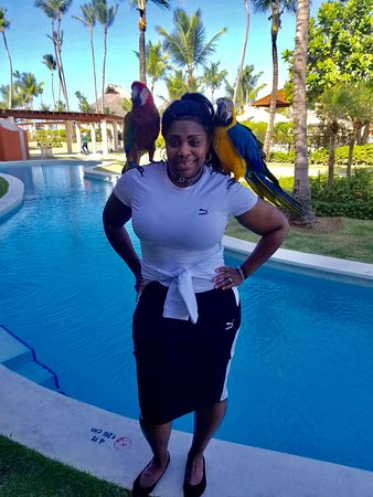Breathless Punta Cana Resort & Spa: Pic with parrots in front of our room