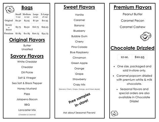 Crazy 4 Popcorn: Flavors/Prices