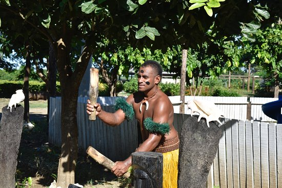 On arrival to Fiji Culture Village you are greeted by a tribesman