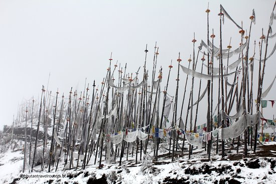 Bhutan TravelRouters: The prayer flags in Chele la pass (3988msl) in winter as its snows...