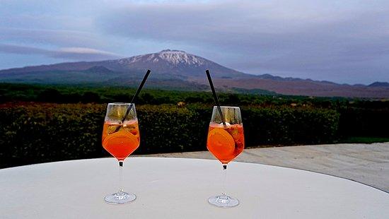 Fucina di Vulcano : View towards Mt. Etna with Aperol Spritz (photo: David Hawkes)