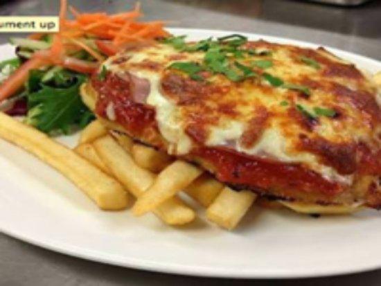 Bundalong, Australia: Delicious chicken parmigianas! We have 5 varieties!