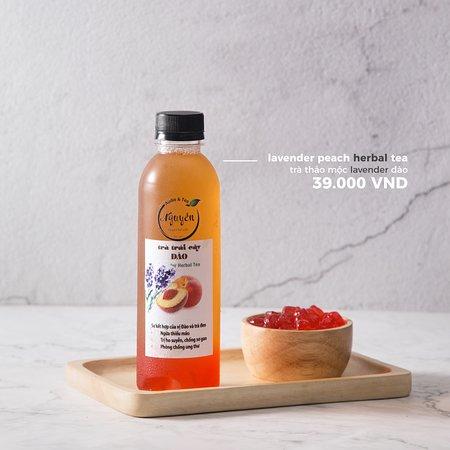 """Audio & Tea: Organic lavender herbal tea +  peach tea, 0.2% sugar, """"peach"""" Boba"""