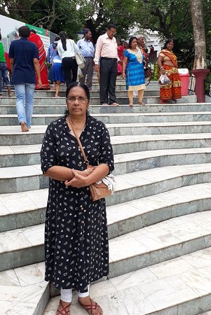 Umananda Temple: My wife on the steps