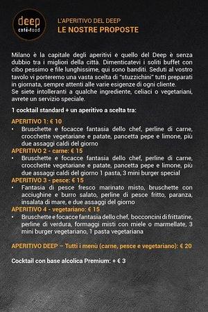 Deep Milano : Menu Aperitivo