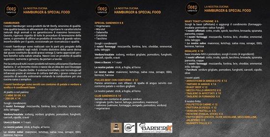 Deep Milano : Menu