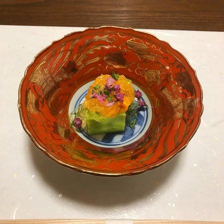 Ajidokoro Takeya : コース料理の2番目の品(アワビ)