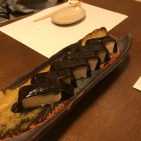 Ajidokoro Takeya: コース料理の8品目(鯖寿司)