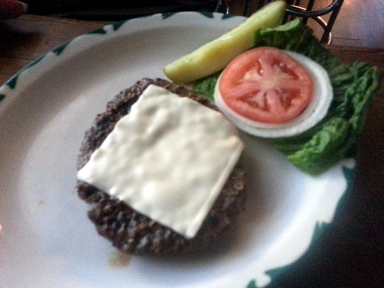 "The Bringer Inn : a ""naked"" burger with Swiss cheese"
