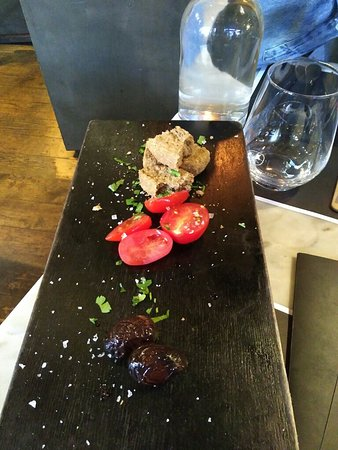 The Life Goddess, Kingly Court: Appetizer, feta fondue, calamari and orzo pasta, chocolate mosaic