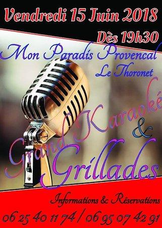 Le Thoronet, Francja: karaoké sur écran géant en extérieur