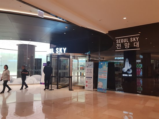 Entrance to Seoul Sky at B1 of Lotte Avenuel