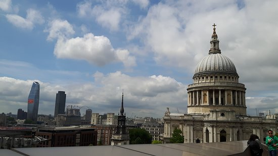 Great view over London and on the impressive St. Paul's Cathedral.