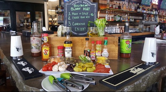 Twisted Laurel West: Our Bloody Mary bar set up for Sunday brunch. We open at 10 AM every Sunday serving brunch and l