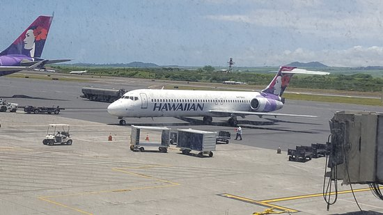 Hawaiian Airlines: Our flight today- sorry for the quality but dirty windows dont help