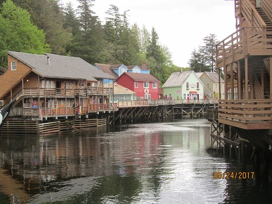 """Creek Street: The view from the bridge. You are looking at the """"wrong side of the creek."""""""