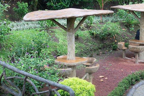 Mistico Arenal Hanging Bridges Park: Fun seating area in garden