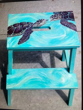 Fern and Dina's Gallery & Gifts: Eva Marie's Sea Turtle Stool