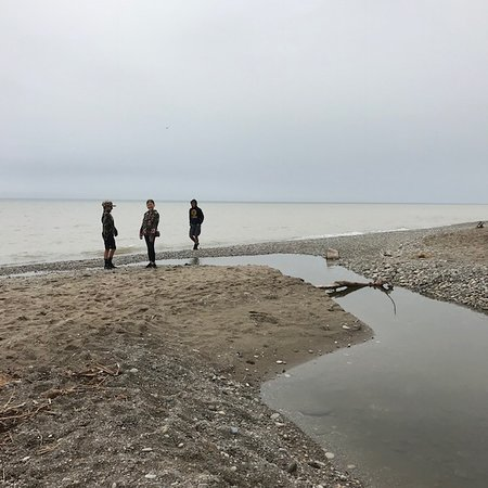 South Milwaukee, WI: Skipping stones out into Lake Michigan