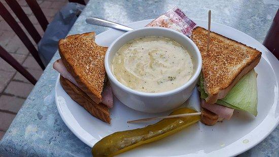 73 North: Cauliflower soup and ham sandwich