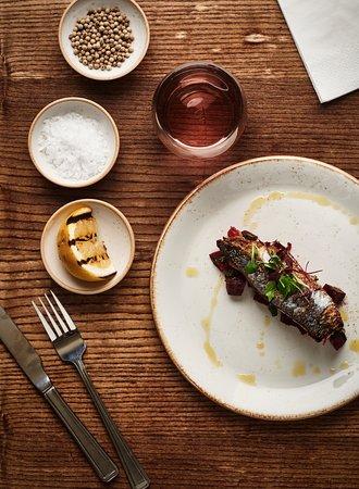 Dar: grilled mackerel,  beet & orange salsa