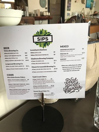 Sips menu, Realm Food Co, Craig street, Parksville, BC