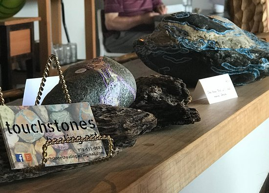 Touchstones rock display, Realm Food Co, Craig street, Parksville, BC