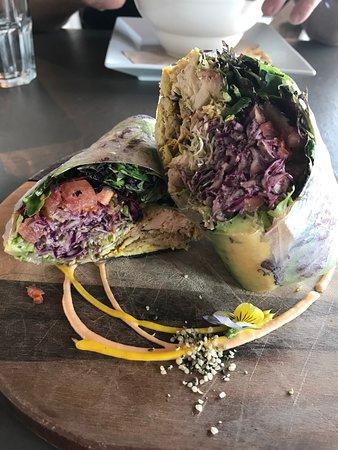 Jerk Chicken wrap, Realm Food Co, Craig street, Parksville, BC