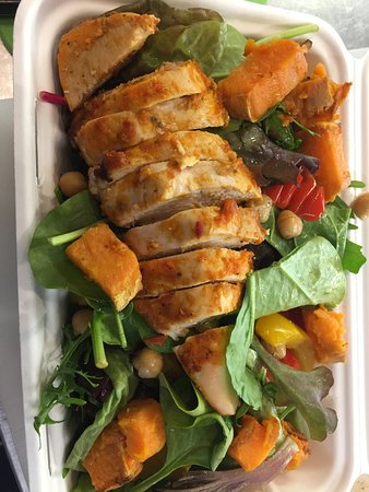 The Red Apple Café: Take away peri peri chicken salad, delicious!