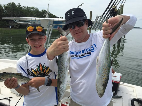 Off The Hook Fishing Charters : Dad and son with Spanish Mackerel