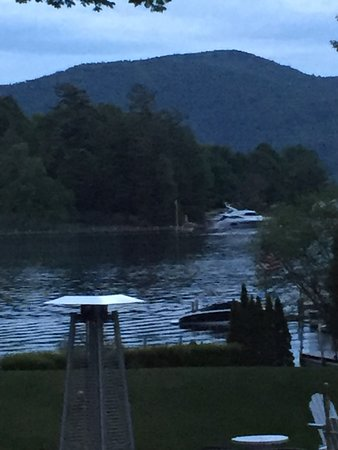 Chateau On the Lake: View from our table in the enclosed porch.