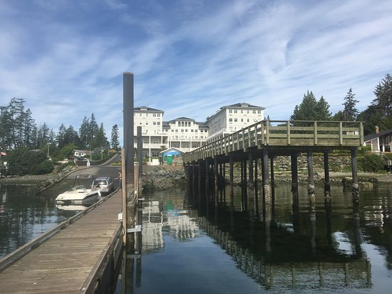 Prestige Oceanfront Resort Sooke : View of hotel from the wharf.