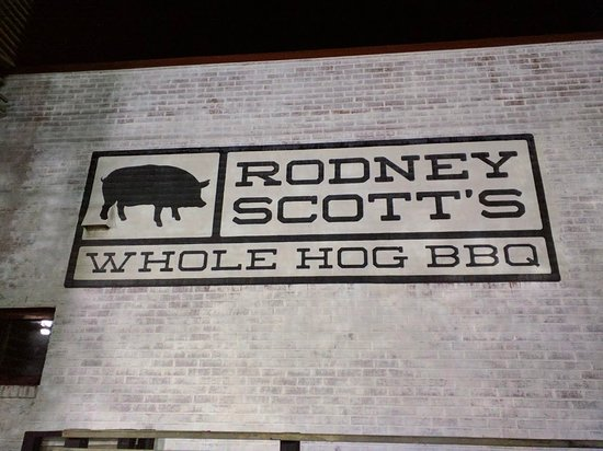 Rodney Scott's BBQ: sign from the outside