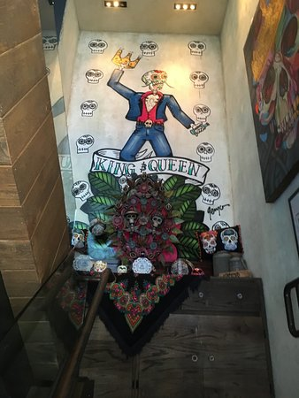 King and Queen Cantina: Art on the stairs